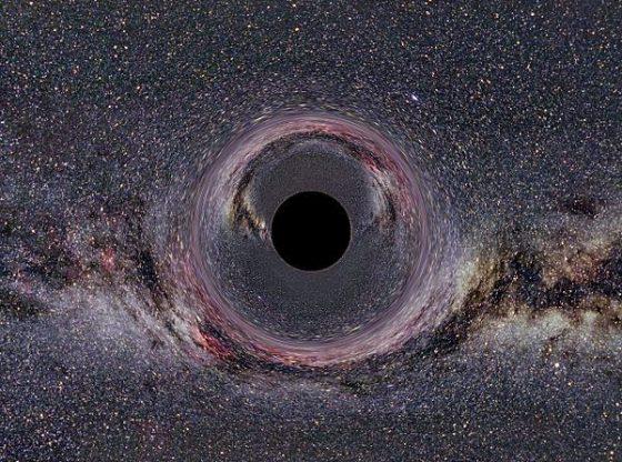 CC: Ein simuliertes Schwarzes Loch von 10 Sonnenmassen vor Milchstraßenhintergrund aus 600km Abstand gesehen (horizontaler Öffnungswinkel der Kamera: 90° by Ute Kraus